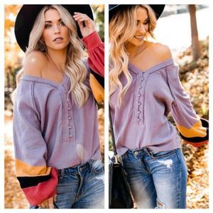 Tops - NWT Lavender Bliss Color Block Top Size Large